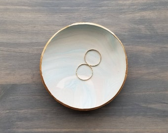Blue Gold Marbled Ring Dish