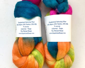 40% Off Alpaca Merino Silk Spinning Fiber  Hand Dyed The Painted Sheep 4 Oz