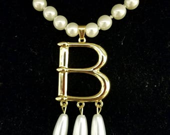 """Anne Boleyn Gold Plated """"B"""" Pearl Choker Necklace--Free Cameo Necklace With Purchase!"""