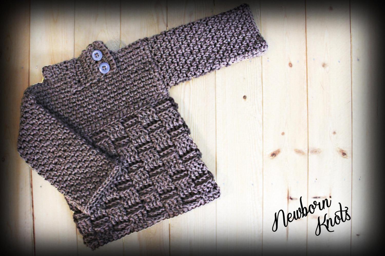 Crochet Baby Sweater Pattern - Boys or Girls Baby Basket Weave ...