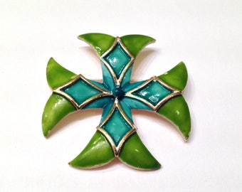 Vintage Lisner Green and Blue Enamel Maltese Heraldic Byzantine Cross