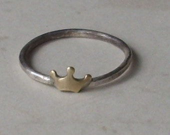 Little Crown- Sterling Silver and Brass -Stacking Ring