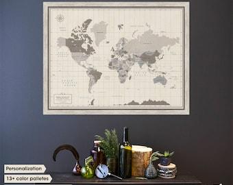 Travel Gift / world map push pin / pin world map / World Travel Map / 1st anniversary gift / Family Travel Map