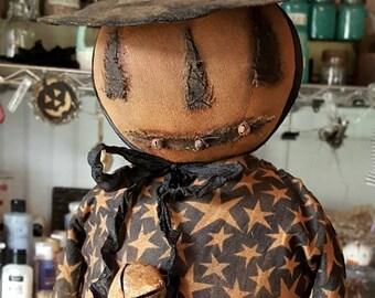 Standing Primitive Pumpkin Doll Witch Orange Black Stars ooak Hand Made Fabric Cloth Halloween Veenas Mercantile Kim Kohler