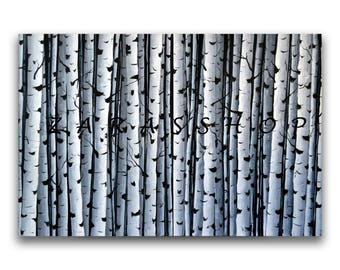 Black white wall art, Birch tree painting, original abstract painting,  36 x 24 diptych canvas painting, office wall art