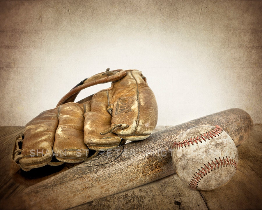 Vintage Baseball Bat And Glove Photo Print Decorating Ideas