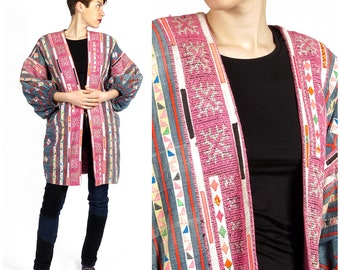 Amazing Vintage Hmong Embroidered Women's Oversized Patchwork Open Colorful Jacket Coat with Puff Sleeves | Small Medium Large