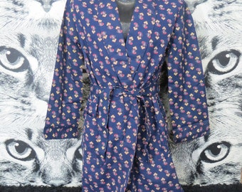 60s Blue Paisley Robe by Leisure Robe / Cotton Poly Blend / New Old Stock