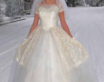 COUPON SALE 50% off at checkout-Snow Princess-1950s Chantilly Ivory with White Lace and Tulle Wedding dress-cap sleeves-full skirted