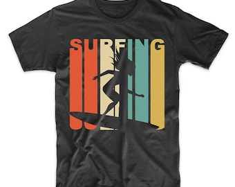 Retro 1970's Style Surfing Surfer T-Shirt