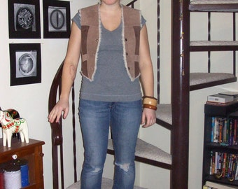 Vintage leather sheepskin vest - small