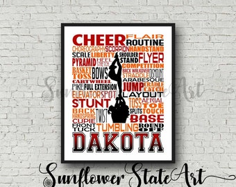 Cheer Team Gift, Cheerleader Typography Cheer Poster, Personalized Cheerleader Art, Competitive Cheer, Gift for Cheerleaders, Summit Cheer