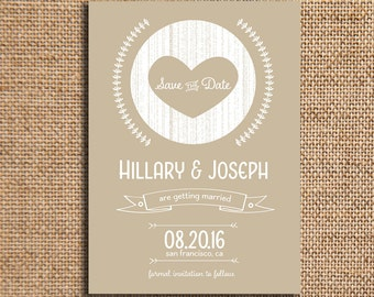 Wedding Save the Date   Engagement Announcement   Printed 5x7 Announcement   Wood Etch