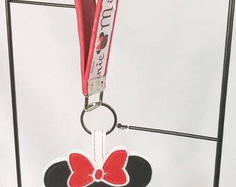 Key FOB / KeyChain / Wristlet key strap- Minnie mouse with keychain