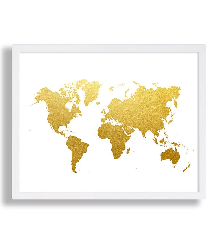 World map print faux gold art print modern decor globe poster zoom gumiabroncs