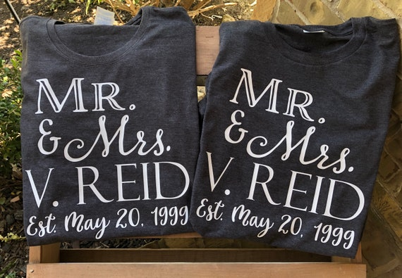Mr and Mrs shirts, wedding date, anniversary tshirt, wedding tshirt, vow renewal, renew vows, anniversary, wedding, tshirt, wedding, wifey,