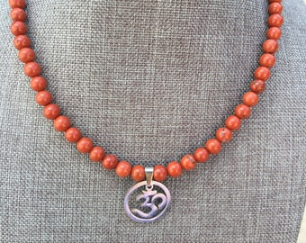 Jasper Necklace with Om Symbol Magnetic Clasp Red/Orange Beads Gemstone Necklace Balancing Necklace Meditation Necklace Zen Necklace