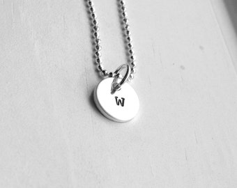 Tiny Initial Necklace, Letter w Pendant, Personalized Necklace, Letter w Necklace, Initial Pendant, Sterling Silver Jewelry