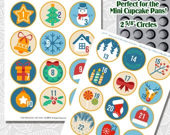 Printable Advent Calendar Circles, cupcake tin pan covers, christmas countdown, digital instant download