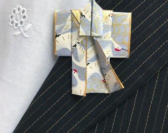 Origami Kimono Pin (gray cranes)