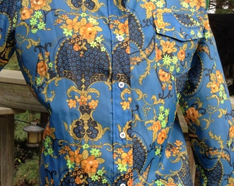 Vintage Blue Floral Nylon Blouse