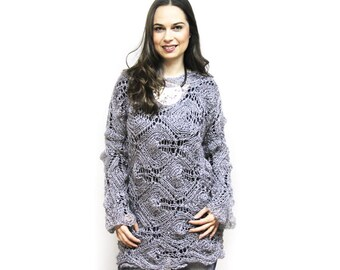 Modern Summer Tunic Loose Knit Sweater, Hand Knit Lace Kid Mohair Sweater by Solandia, Grey, Gray, Boho fashion, festival fashion
