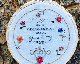 Quote Series: Radiohead's AMNESIAC. Embroidered hoops. 4x4