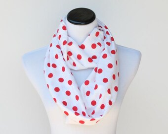 Red Polka Dot Scarf Red white polka dot infinity scarf soft jersey knit cotton loop scarf birthday day gift idea for mom and teenage girl
