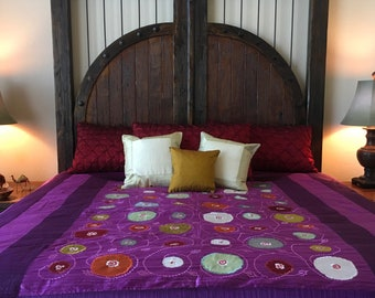 Handmade 100% Silk Kingsize coverlet bedspread spring time tree of life floral home decor piece