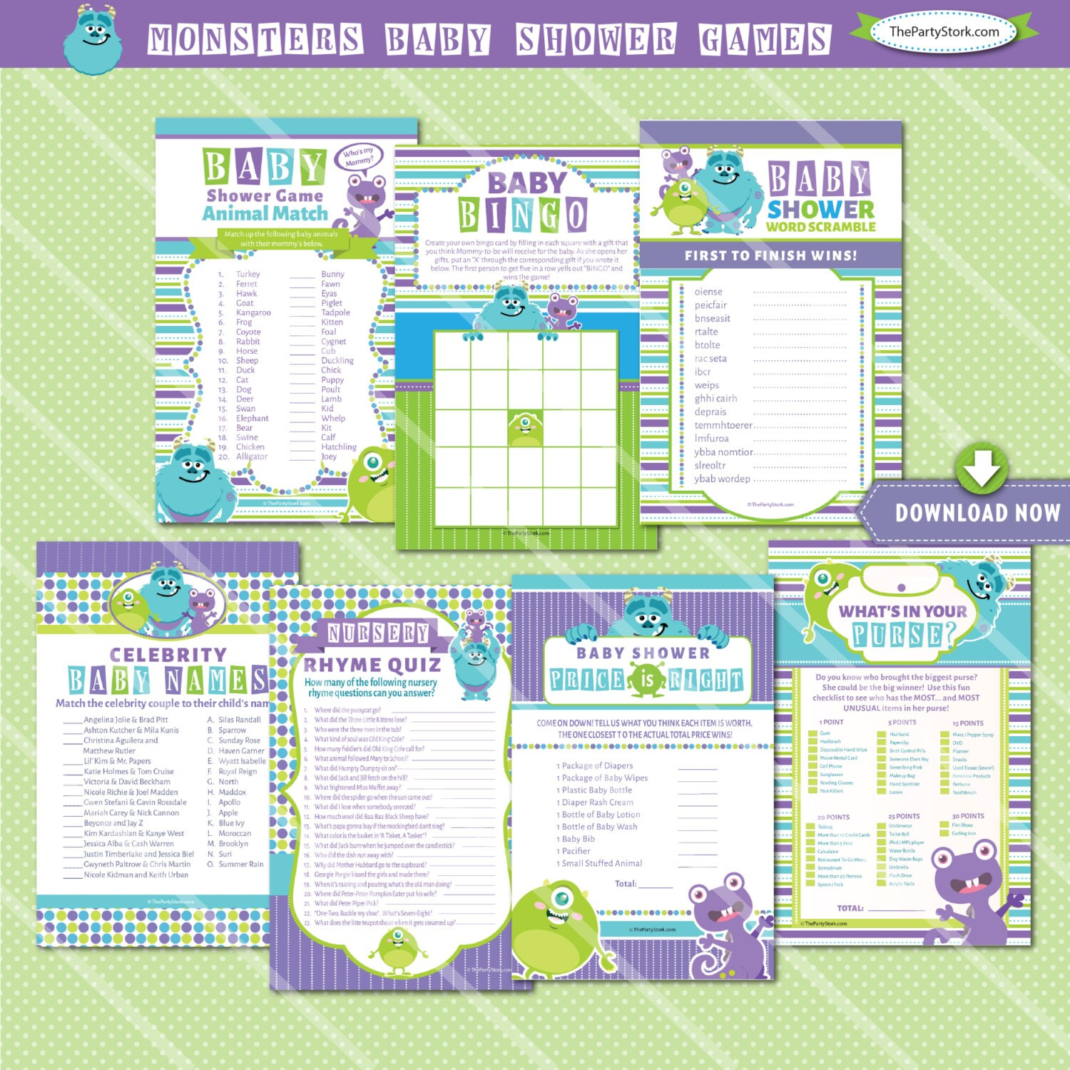 Monsters Inc Baby Shower Games Printables Monster Baby Shower