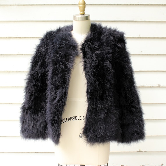 cropped jacket ostrich Marabou black vintage womens jacket xs plume feather feather medium small IUpqw