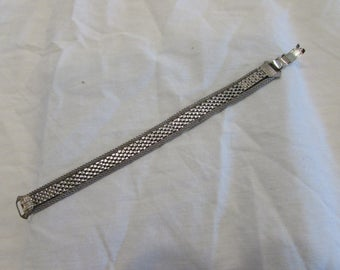 Bracelet, Belt Style, Mesh, Fold Over Clasp, Vintage, Stainless Steel, 1960's or 1970's