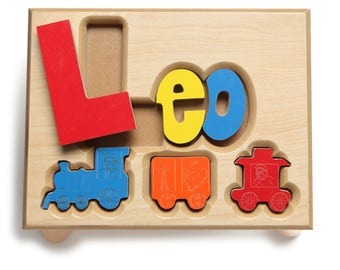 Train Theme Name Puzzle Stool, Custom Name Puzzle Stool, Baby Gift, Nursery, Wooden Name Puzzle Stool, Baby Gift, Wooden Stool