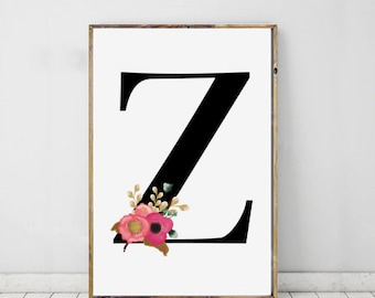 Nursery Print, Initial Print, Z Print, Z Monogram Letter, Personalised Print, Digital Download, Instant Download, Printable Art