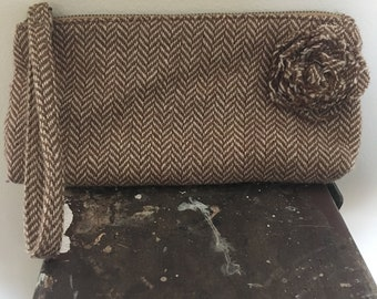 Vintage Chevron Fabric Clutch with Flower