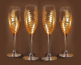 4 Hand-Painted Gold Fern Glasses - Elegant Gold Ferns Crystal Stemware Gifts Personalized 50th Anniversary Gifts Retirement Gift Idea
