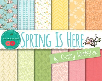 "Pastel Digital Paper ""Spring is Here"" Floral Digital Paper Pack for COMMERCIAL and PERSONAL USE texture patterns / printable table"