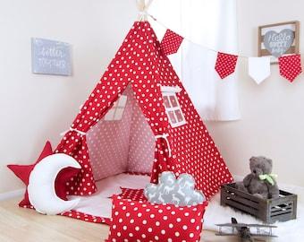 Red White Polka Teepee / kids teepee tent / childrens teepee / teepee play tents / tee pee red white / red teepee / teepee play tent