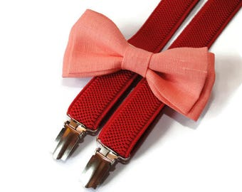 coral bow tie & red suspenders infant birthday outfit for boys back to school set for preschooler bow tie light coral bow tie linen bowties