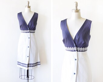 vintage 60s sundress, blue and white polka dot dress, button up 1960s dress, small s