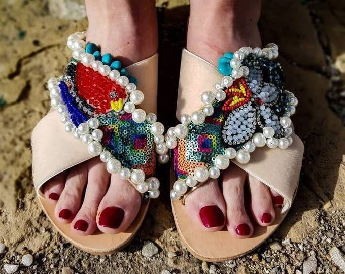 DHL FREE/Greek sandals/strappy sandals/gladiator sandals/women's sandals/wedding sandals/genuine leather sandals/sparkly pearls/luxury