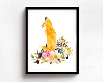 Fox Floral Watercolor Print, Fox And Flowers Watercolor Print, Flower Watercolor, Red Fox Print, Fox Floral Art, Red Fox Wall Art, Fox Art