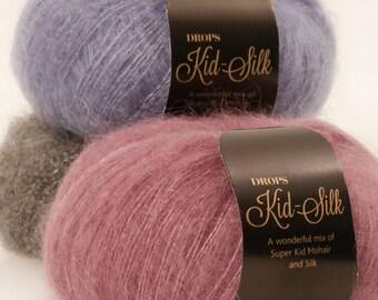 Kid Mohair et soie! Design de Garnstudio Drops KID-SILK 75 % kid Mohair 25 luxe glacé moelleux tricot laine de soie 25 grammes