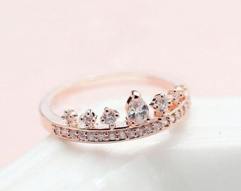 The Heir  Zircon 14k Rose Gold crown Ring