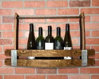 Wine Barrel Stave Wine Rack, Industrial, Rustic Wood Wine Holder