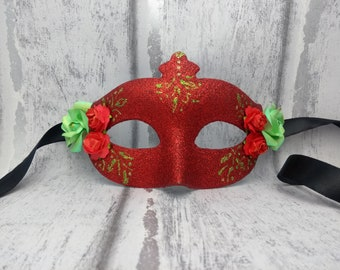 Red masquerade mask, party masks, ladies red mask, mask with roses, half face mask, masked ball, venetian, costume mask, dress up, Halloween