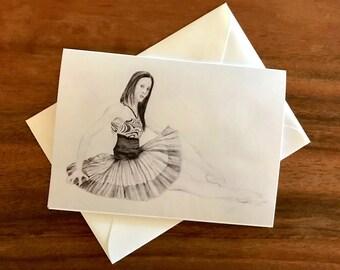 Ballerina before curtain call - Blank Greeting Card