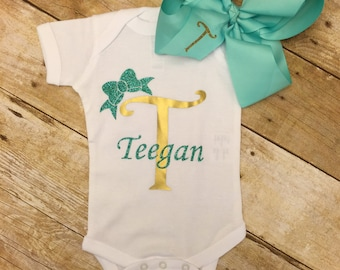 Girly Initial Onesie, Baby Shower Gift, Coming Home Outfit