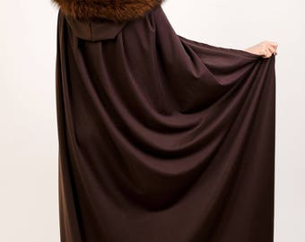 Brown Cape with Hood and Real Fox Brown Fur