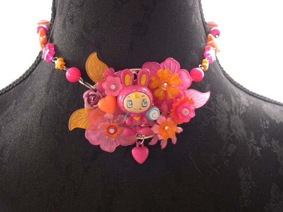 Kawaii bunny girl  necklace choker Pink gothic lolita flowers